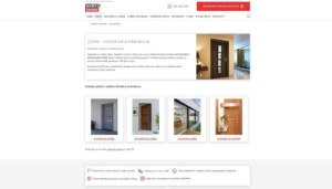 Screen webu společnosti Svět oken s informací, že se jedná o české výrobky